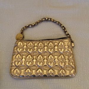 Quilted gold wristlet